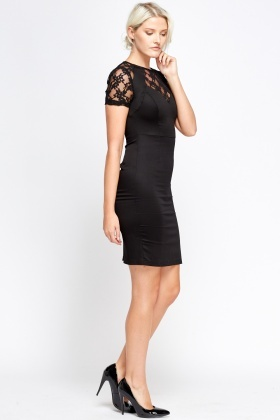 Black Lace Contrast Dress