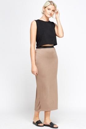 Elasticated Basic Maxi Skirt - 6 Colours - Just £5
