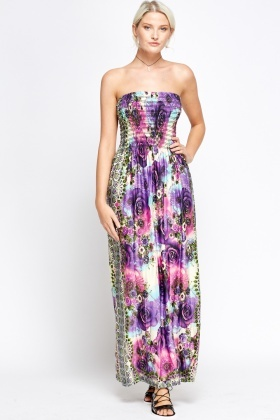 Elasticated Mixed Print Bandeau Maxi Dress