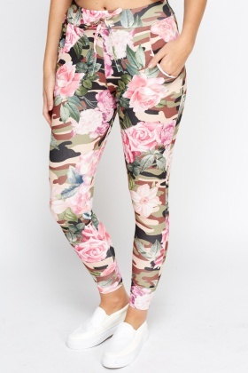 Green Camo Floral Slim Leg Pants