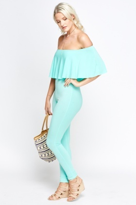 Off Shoulder Flare Jumpsuit
