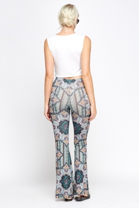 Ornate Olive Printed Flared Trousers