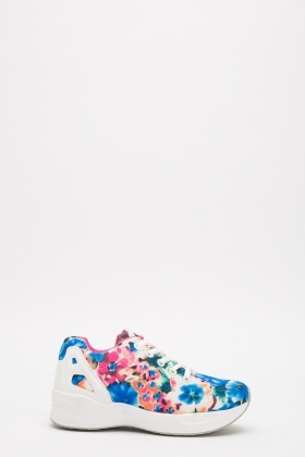 Floral Lace Up Trainers