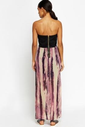 Bandeau Contrast Slit Maxi Dress