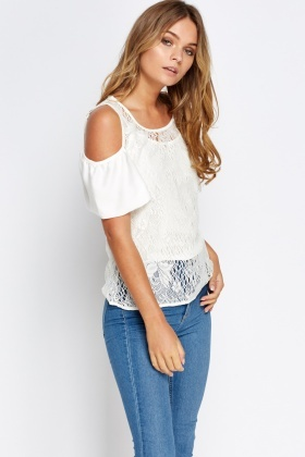 a8ec8e8da Cream Lace Cold Shoulder Top - Just £5