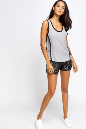 Grey Contrast Vest Top