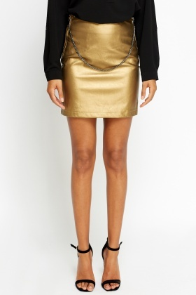 Metallic Chain Mini Skirt