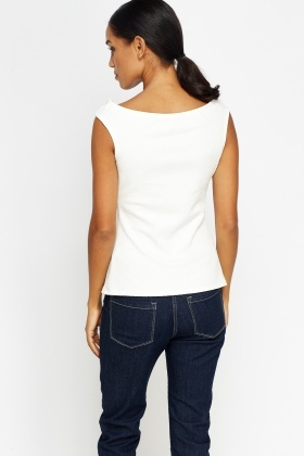 Textured Button Front Shell Top