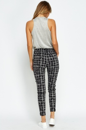 Check Grid Black Trousers