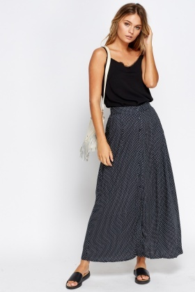 Polka Dot Button Front Skirt