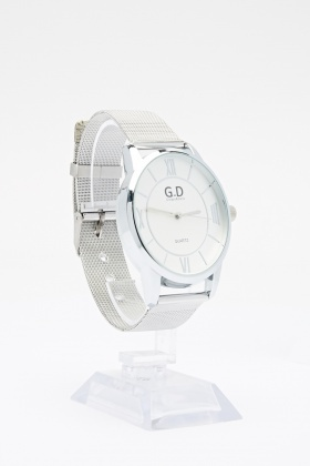 Contrast Band Analog Watch