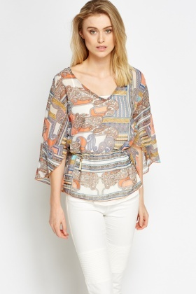 Chain Belted Paisley Top