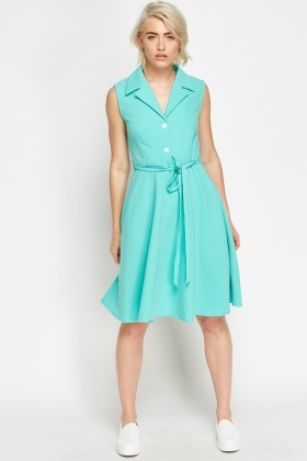Midi Button Front Skater Dress
