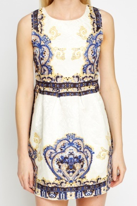 Printed White Skater Dress