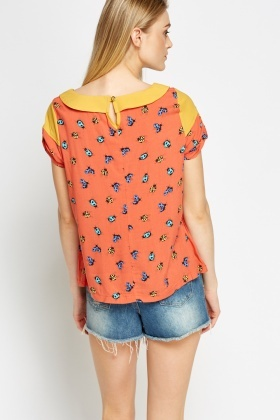 Collared Ladybird Print Top