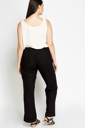 Linen Blend Black Trousers