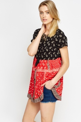 Peasant Printed Top