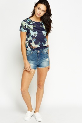 Butterfly Cropped T-Shirt