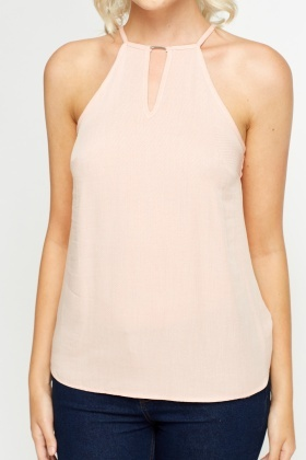 High Neck Keyhole Pink Cami