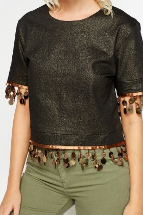 Metallic Embellished Trim Top