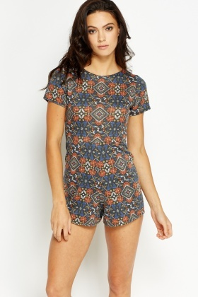 Orange Multi Printed Petite Playsuit