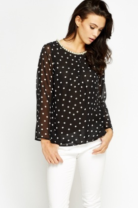 Pearl Neck Polka Dot Blouse