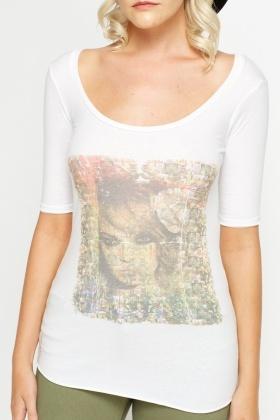 Printed Front Long White T-Shirt