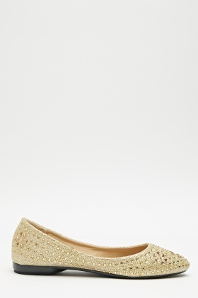 Encrusted Slip On Ballet Pumps