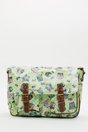 Owl Print Satchel Bag