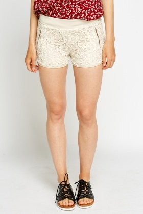 Lace Overlay Cream Hotpants