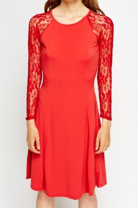 Lace Shoulder Red Swing Dress