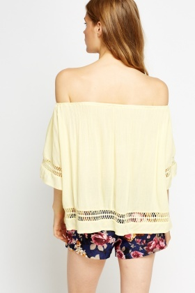 Mesh Trim Off Shoulder Top