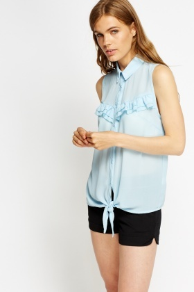 Ruffled Knot Hem Top
