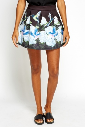Bird Printed Mini Skater Skirt