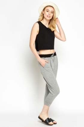 Contrast Waist Low Crutch Pants