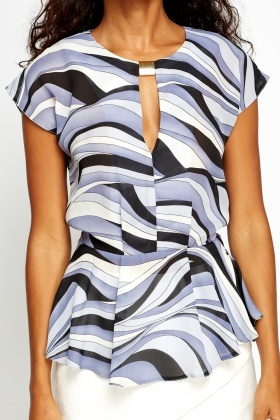 Detailed Printed Peplum Top
