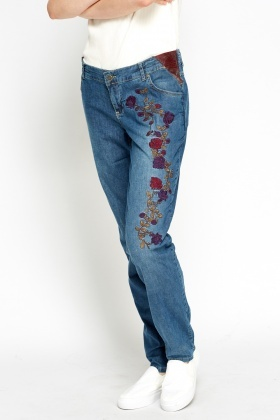 Embroidered Regular Fit Jeans