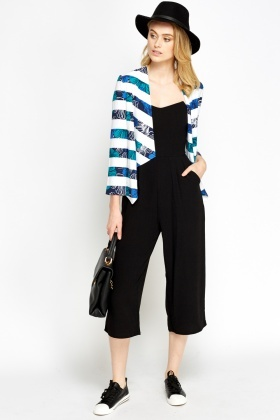 Striped Cropped Waterfall Blazer