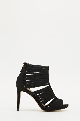 Black Strappy Peep Toe Heels - Just £5