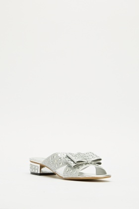 Encrusted Bow Open Toe Sandals