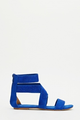 Encrusted Strappy Cross Over Sandals