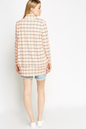 Check Grid Peach Blazer