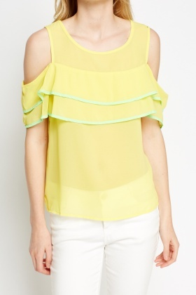 Cold Shoulder Ruffled Trim Top
