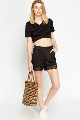 Mesh Trim Jacquard Shorts