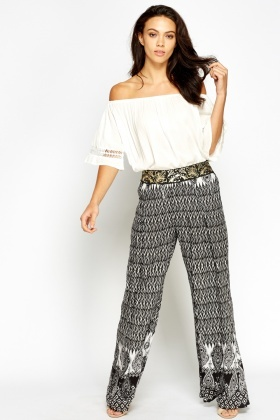Gold Belted Waist Wide Leg Trousers