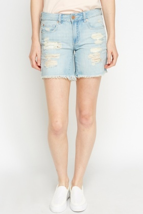 Ripped Light Blue Denim Shorts