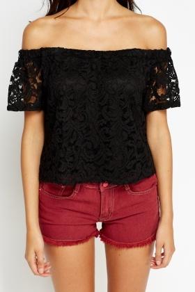 c379415a6de9 Black Lace Off Shoulder Top - Just £5