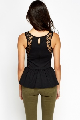 Lace Contrast Peplum Top