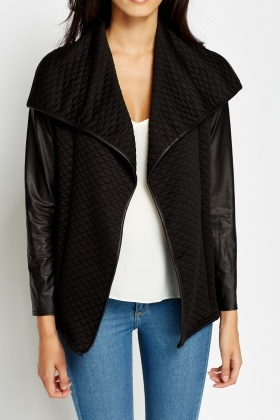 Waterfall Faux Leather Sleeve Jacket