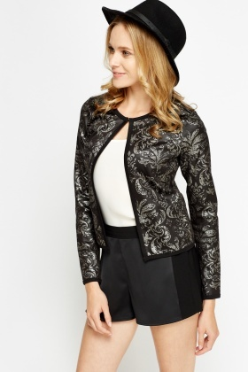 Metallic Tapestry Print Jacket